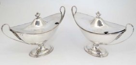 An 18thc Pair Of Old Sheffield Plate Sauce Tureens In