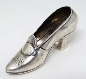 An American Sterling Silver Model Of A Shoe By Gorham