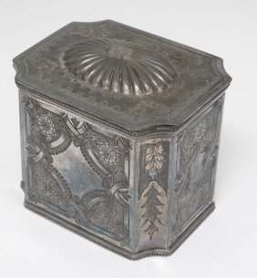 A Late 19thc Silver Plate Tea Caddy With Hinged Lid And