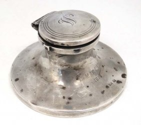 A Silver Inkwell Of Capstan Form Engraved March 1916