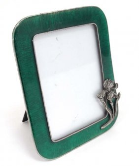 A Late 20thc Base Metal Photograph Frame With Green
