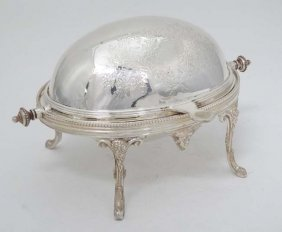 A Late 20thc Small Silver Plated Serving Dish Of Ovoid