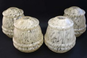 A Set Of Four Mid 20thc Glass Lamp Shades With Flecked