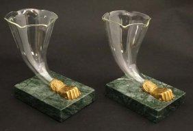A Pair Of Cornucopia Vases / Epergnes The Glass Flues