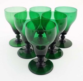 A Set Of 6 Pedestal Wine Glasses 6'' High