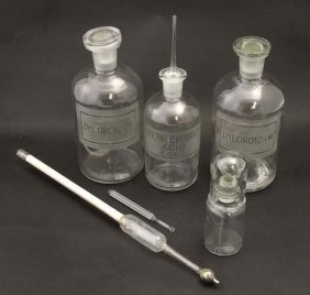 Two Glass Chemist / Apothecary Bottles Labelled