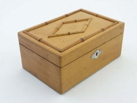 A 19thc Whitewood Box With Faux Bamboo Decoration To