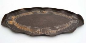 A Late 19thc Art Nouveau Plannished Copper Oval Tray 18