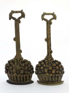 A Pair Of Georgian Style Cast Brass And Weighted Iron