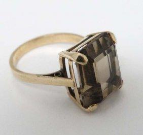 A 9ct Gold Ring Set With Smoky Quartz