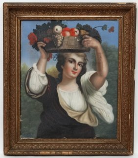 Xviii Italian School, Oil On Canvas, Lady With Basket