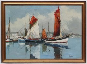 Bernard Laarhoven (1912-?) Dutch Marine School, Oil On