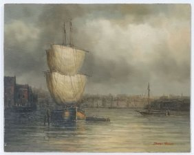 James Hardy Xx, Marine School, Oil On Board , A French