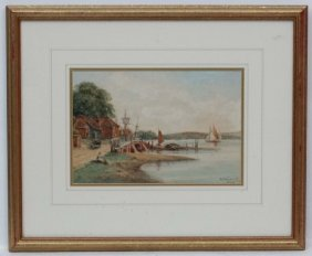 R.harrison 1924 Watercolour River Estuary Landscape