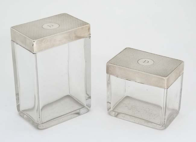 2 glass dressing table pots of rectangular form with