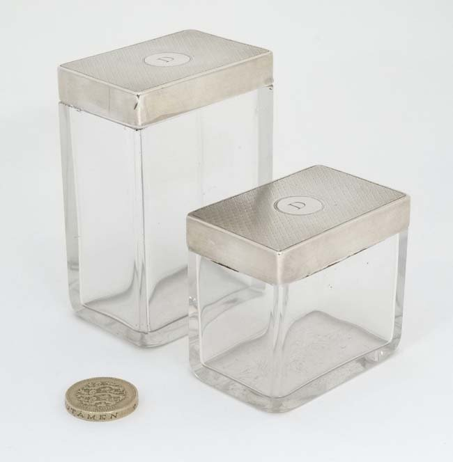 2 glass dressing table pots of rectangular form with - 3