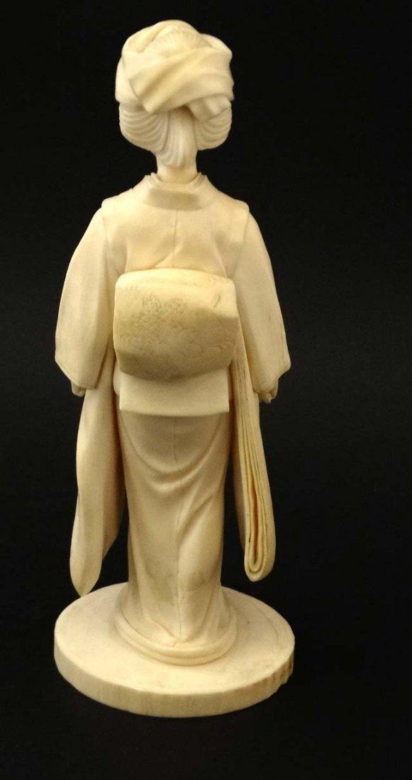 A Japanese Ivory Meiji okimono of a female figure - 3