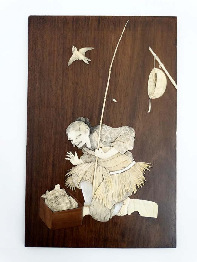 A 19thC Japanese hardwood plaque with ivory and mother - 3