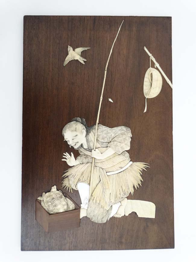 A 19thC Japanese hardwood plaque with ivory and mother - 4
