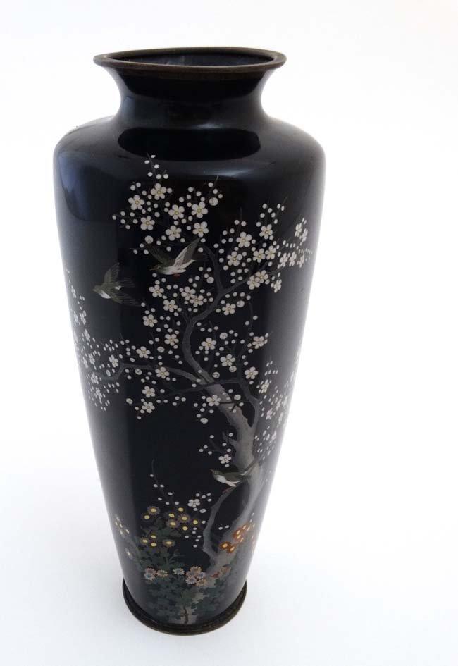 A Hayashi Kodenji studios style Cloisonne vase