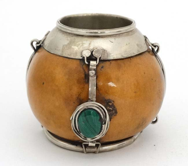 A white metal banded organic 'mate? pot' with malachite