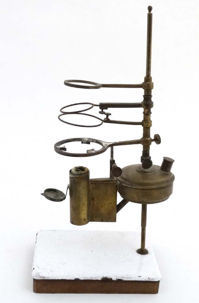 19thC scientific apparatus. A brass burner  with four - 3