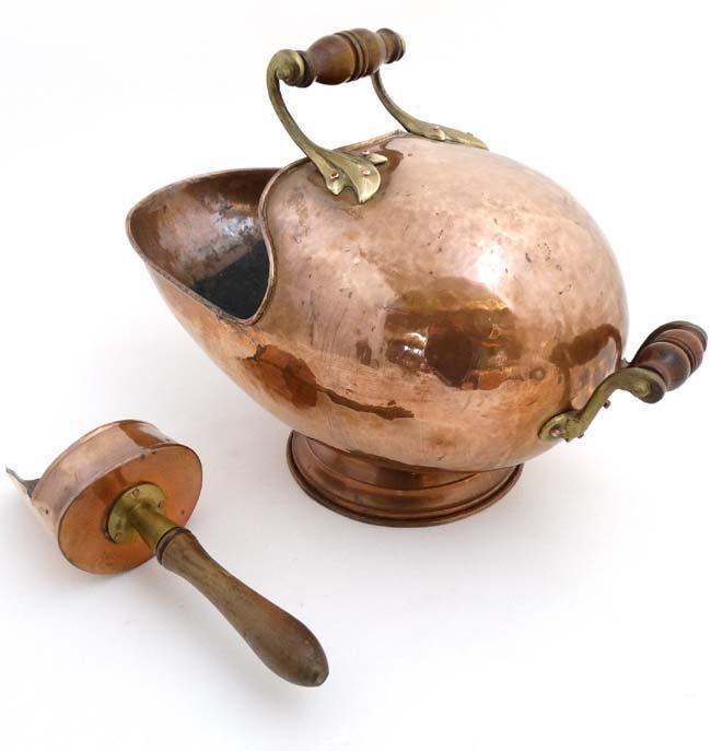 A 19thC copper and brass helmet shaped coal scuttle - 2