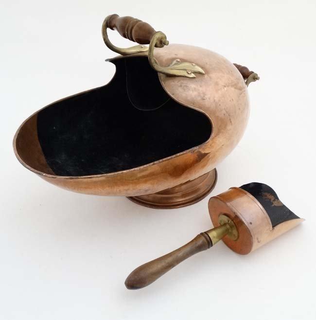 A 19thC copper and brass helmet shaped coal scuttle - 3