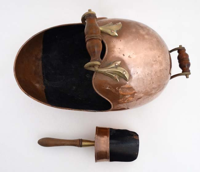 A 19thC copper and brass helmet shaped coal scuttle - 5