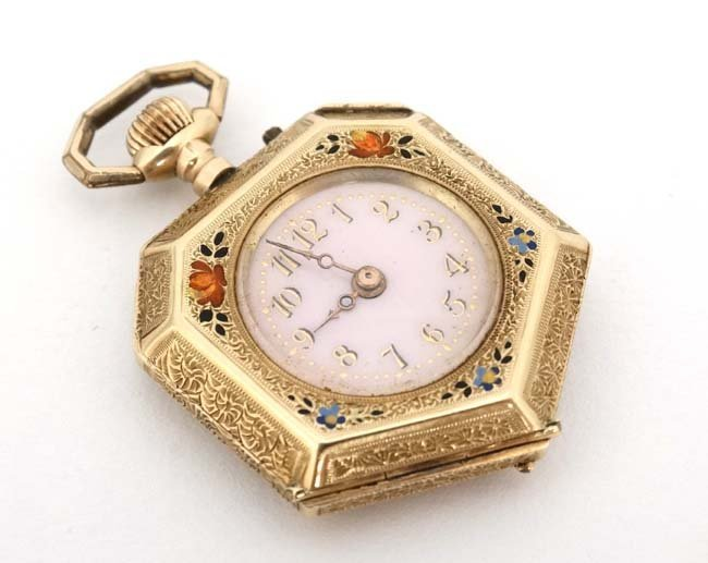 Enamel and 14 K gold Fob Watch: a French Heptagon top