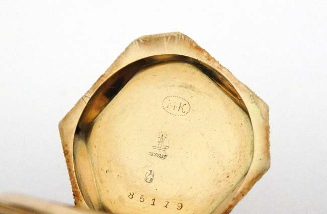 Enamel and 14 K gold Fob Watch: a French Heptagon top - 2