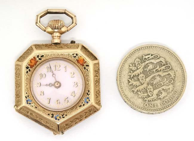 Enamel and 14 K gold Fob Watch: a French Heptagon top - 3