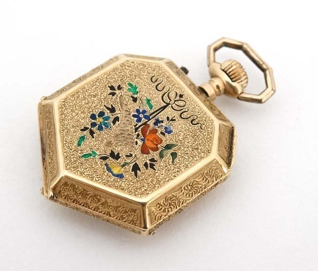 Enamel and 14 K gold Fob Watch: a French Heptagon top - 4
