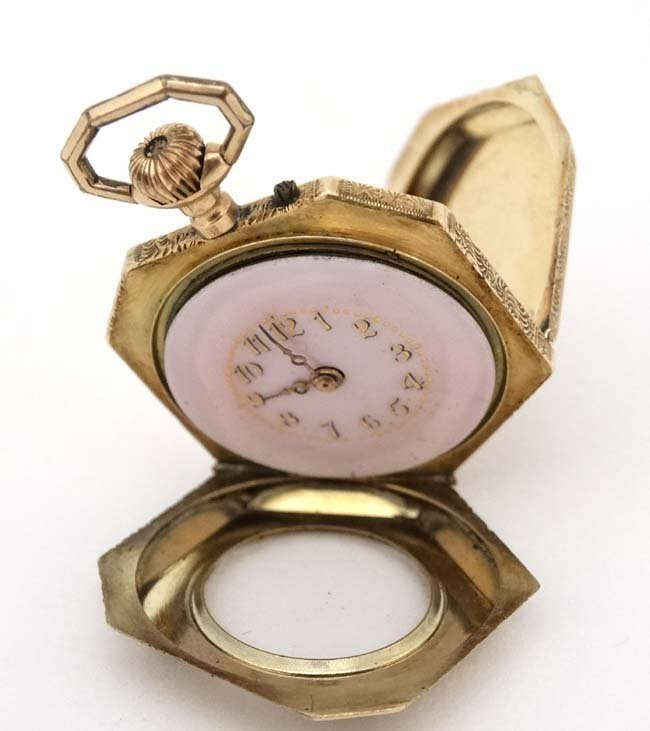 Enamel and 14 K gold Fob Watch: a French Heptagon top - 5