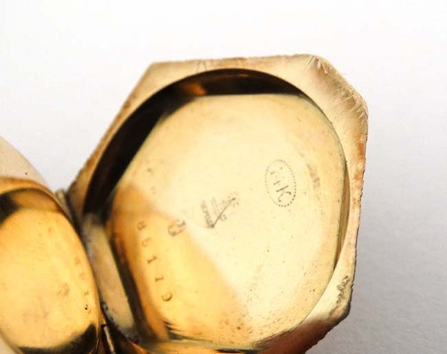 Enamel and 14 K gold Fob Watch: a French Heptagon top - 6