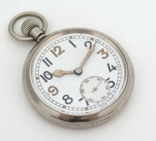 Military Pocket Watch : a Top Wind nickel cased MOD