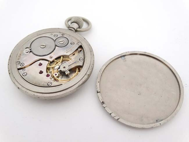 Military Pocket Watch : a Top Wind nickel cased MOD - 2