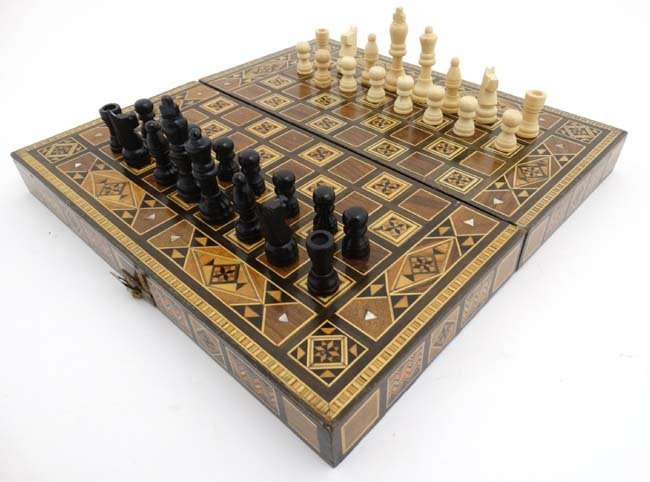 A mid 20thC Damascus folding chess and backgammon board - 2