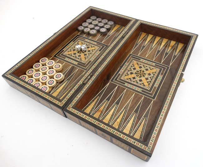A mid 20thC Damascus folding chess and backgammon board - 3