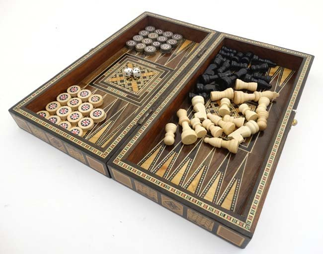 A mid 20thC Damascus folding chess and backgammon board - 4