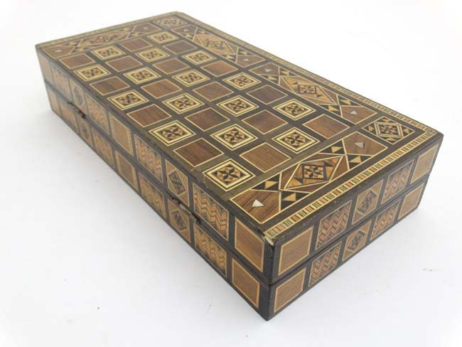 A mid 20thC Damascus folding chess and backgammon board - 5