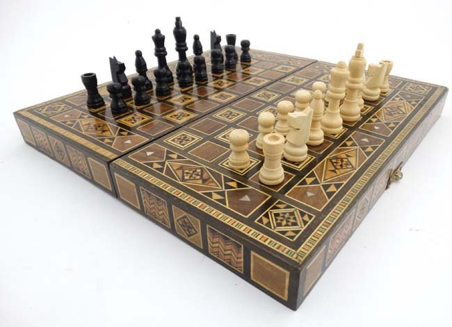 A mid 20thC Damascus folding chess and backgammon board - 6