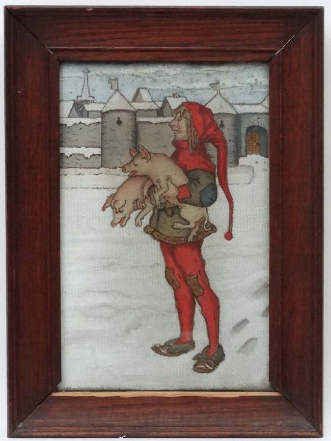 Arts and Crafts c 1900, Oil on unprepared canvas,