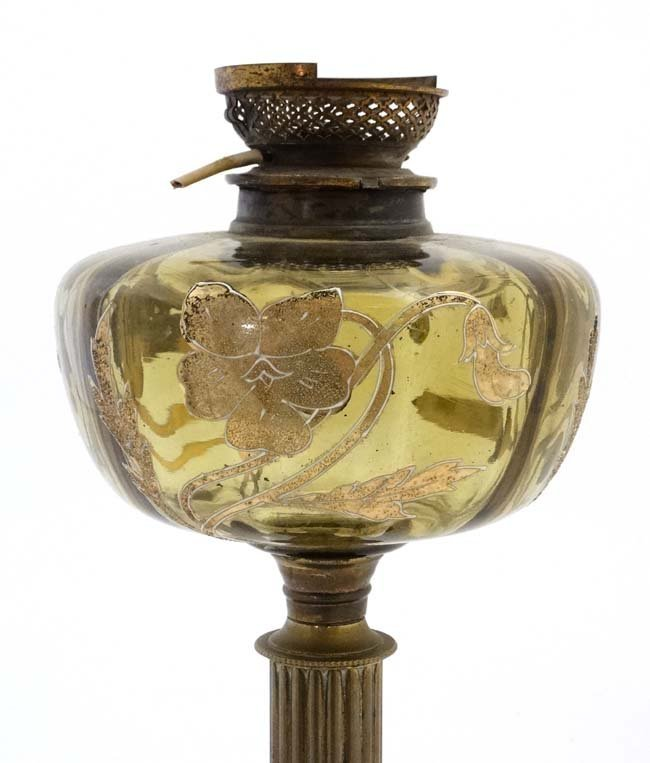 An unusual oil lamp with reeded column, circular base - 2