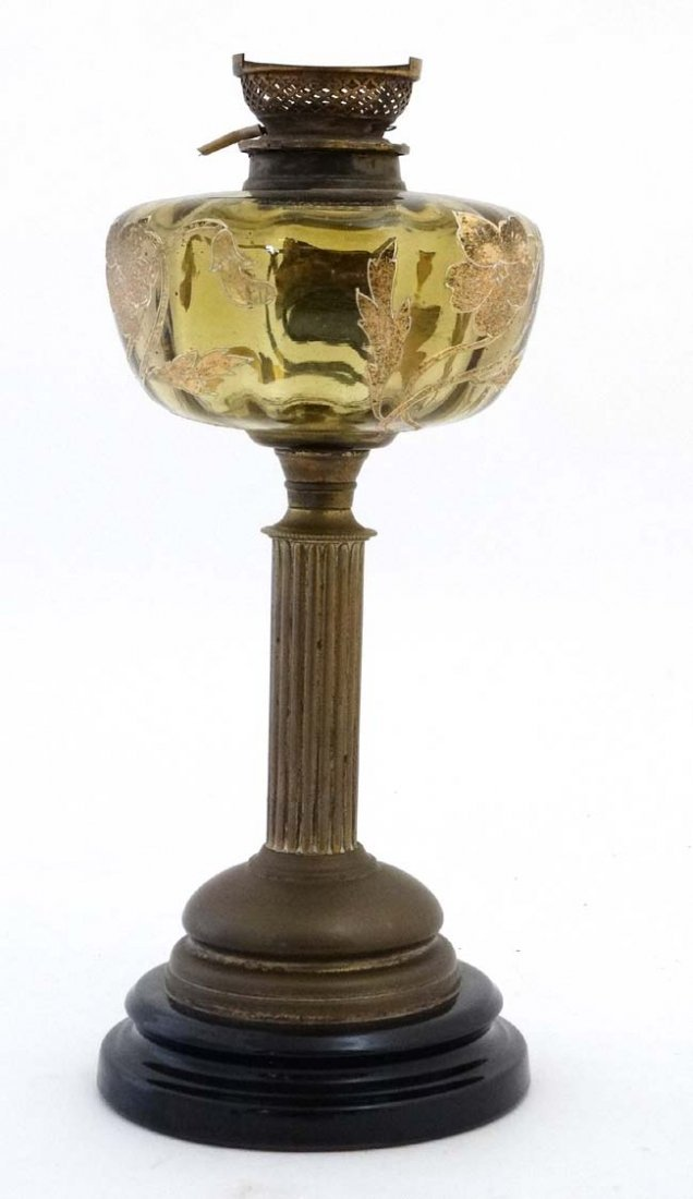 An unusual oil lamp with reeded column, circular base - 3