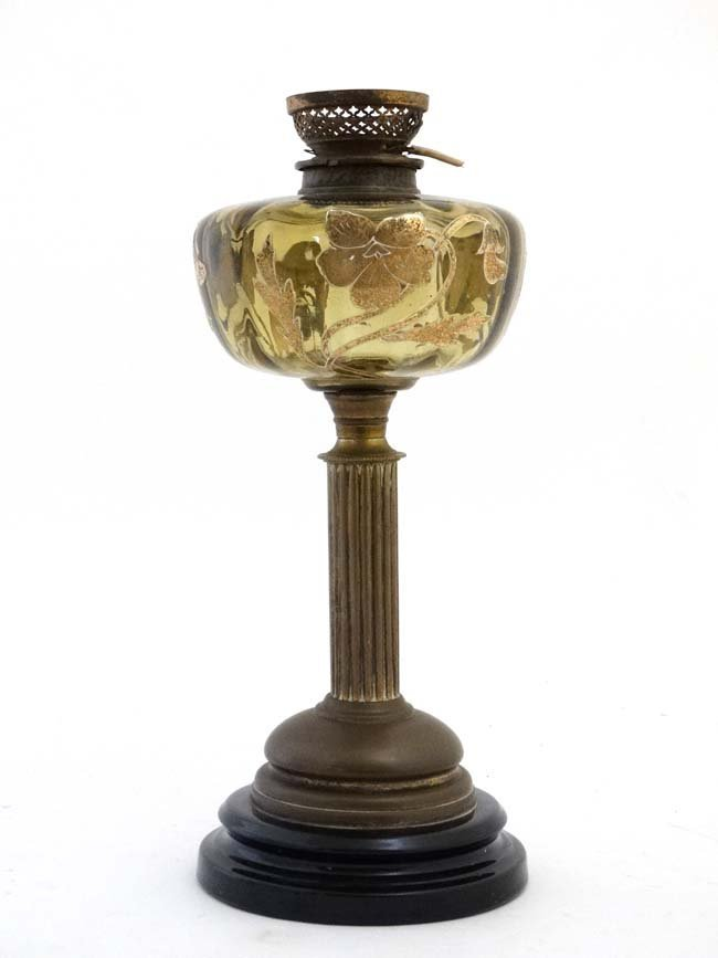 An unusual oil lamp with reeded column, circular base - 5