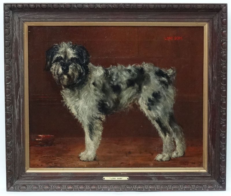 Monogrammed 1909 English Canine School, Oil on Canvas,