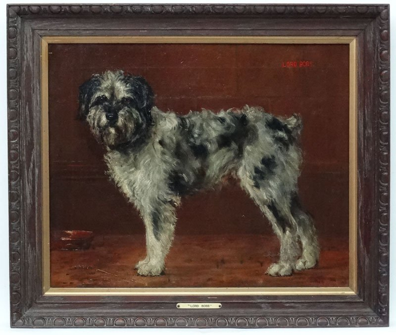 Monogrammed 1909 English Canine School, Oil on Canvas, - 3