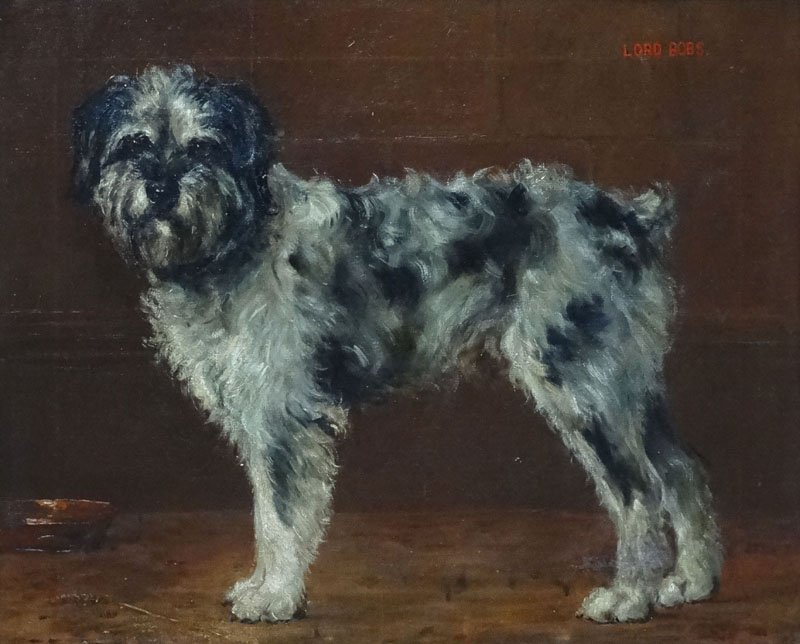 Monogrammed 1909 English Canine School, Oil on Canvas, - 4