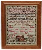 Sampler: Ann E Johnson , 1870 woolwork ,Signed verso by
